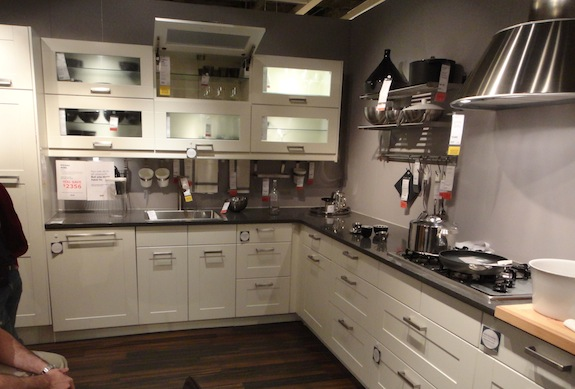 Ikea Adel white cabinets with dark gray counter