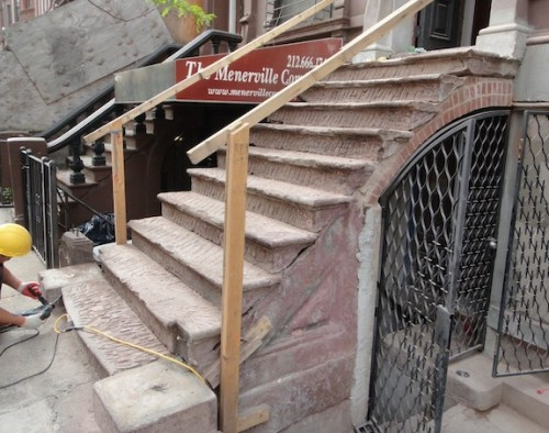 Roughing up the brownstone on a stoop